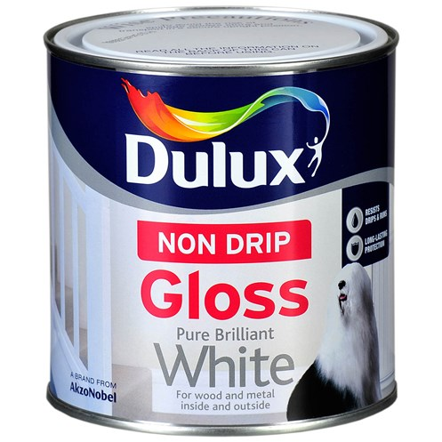 Dulux  Non Drip Gloss Pure Brilliant White Paint - 1 Litre