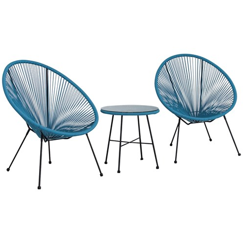Monaco Egg Chair Set Blue