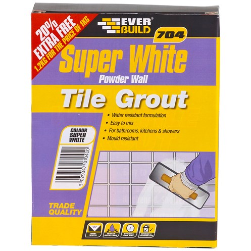 Everbuild  704 Super White Powder Wall Tile Grout - 1kg