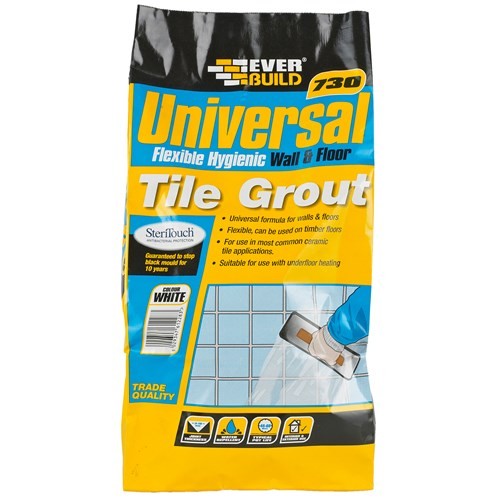 Everbuild  730 Universal Flexible Tile Grout White - 5kg