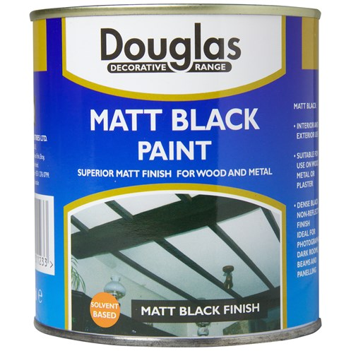 Douglas Decorative Range Matt Black Paint - 1 Litre