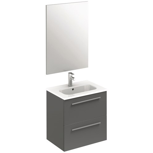 Paris 50cm Wall Hung Unit, Basin & Mirror 2 Drawer Gloss Grey